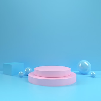Pastel podium rectangle shape circle geometry pink blue room interior product mockup background