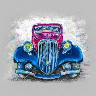 Пастельный рисунок с красно-синим автомобилем