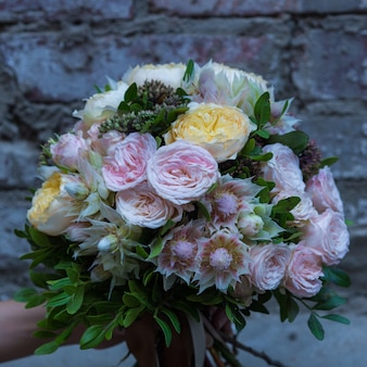 Pastel tone colored flowers bouquet