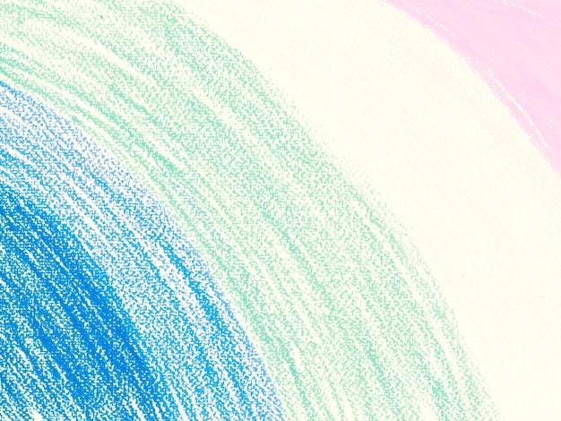 パステルクレヨンは、白い紙の背景に青、薄緑、ピンクの最小限の描画に着色
