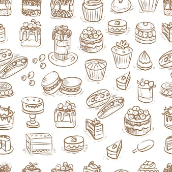 Pastries  cakes cupcakes  graphics  engraving sketch hand drawn picture sweet food menu cooking doug...