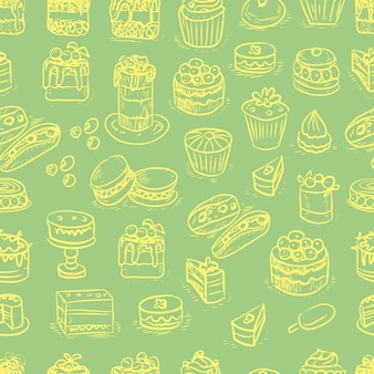 Pastries  cakes cupcakes graphics  engraving sketch hand drawn picture sweet food menu cooking dough...