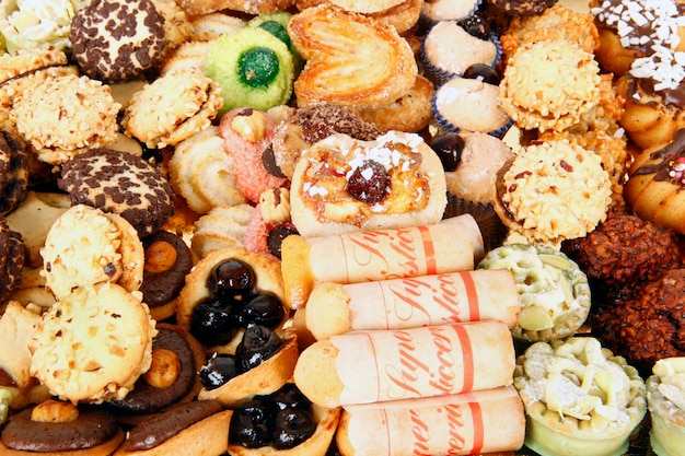 Pastries on white background