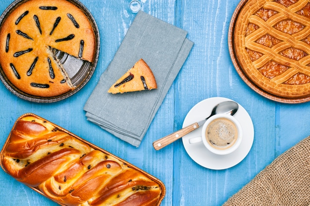 Pastry assortment with coffee cup
