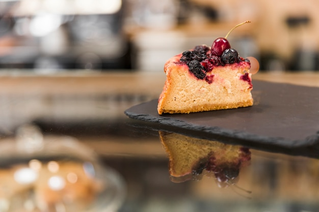 Pastry on black shale board