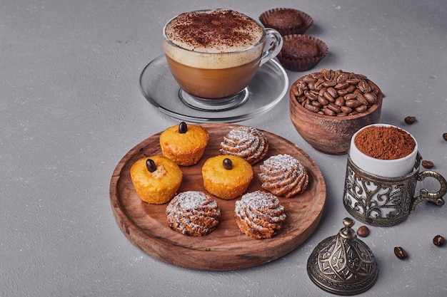 Pastry mix with a cup of coffee.