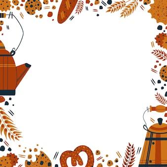 白い背景の朝食セットに分離されたベーカリー製品のイラストとペストリーの正方形のフレーム