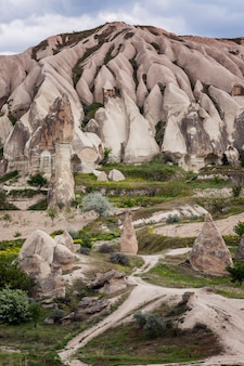 A path among the pink cliffs of cappadocia. tourism and travel. beautiful landscape. vertical.