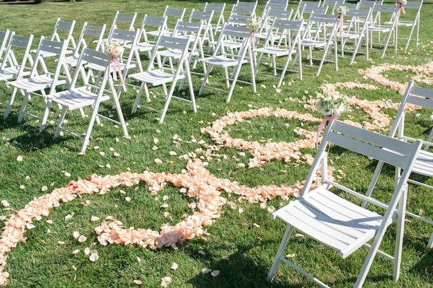Path of rose petals, decorations for newlyweds