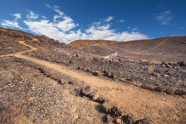 Path in scenic volcanic landscape in south tenerife island, canary islands, spain.