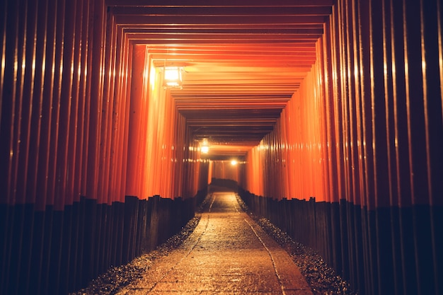 Путь orii ворота в храме фусими инари ночью в киото, япония.