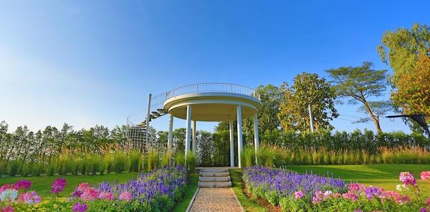 The pathway to top viewpoint in flower garden.