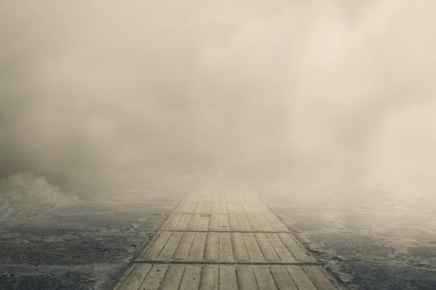 짙은 안개 배경이 있는 통로