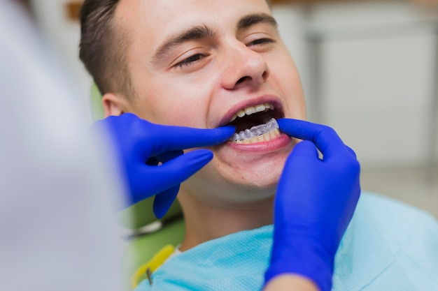 Patient getting invisible retainers
