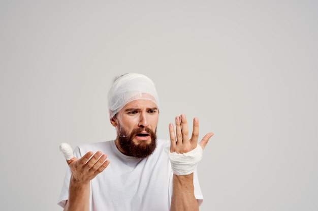 Patient head and arm injuries health problems treatment