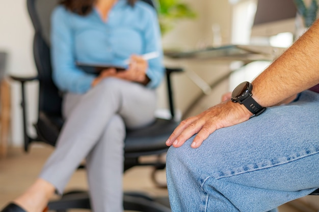 Patient meeting with a therapist