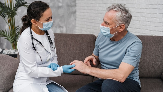 Patient receiving support from the doctor