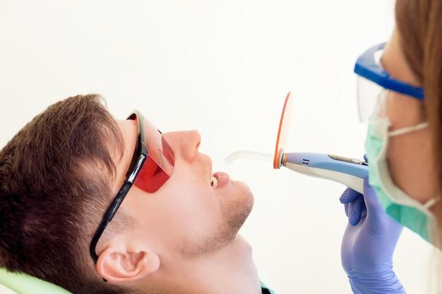 Patient receiving treatment at dentist