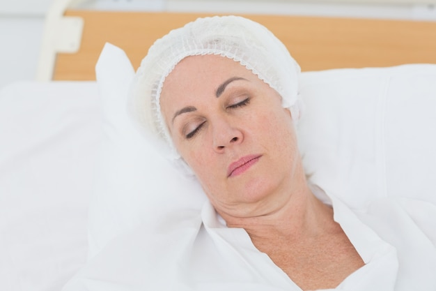 Patient sleeping in the bed
