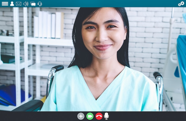 Patient talking on video call for telemedicine service