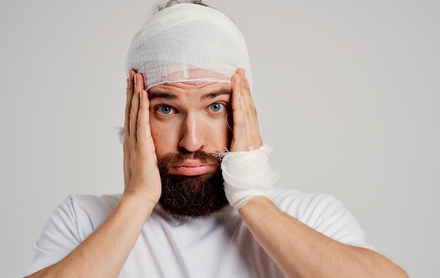 Patient with a bandaged head