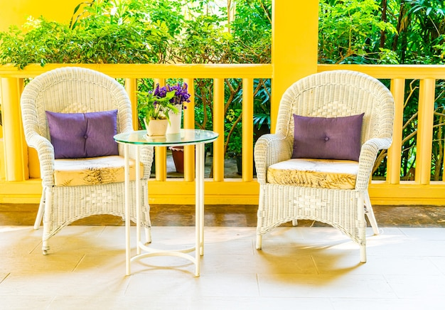 Patio chair and table decoration on balcony