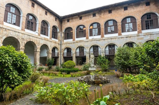 Patio of the old santa clara monastery in the town of azkoitia next to the urola river. founded by don pedro de zuazola, gipuzkoa. basque country