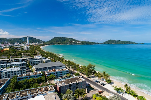 Patong beach phuket thailand in september 16- 2021 amazing beach beautiful sea in andaman sea aerial view drone camera high angle view.