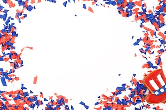 Patriotic confetti background of 4th of July