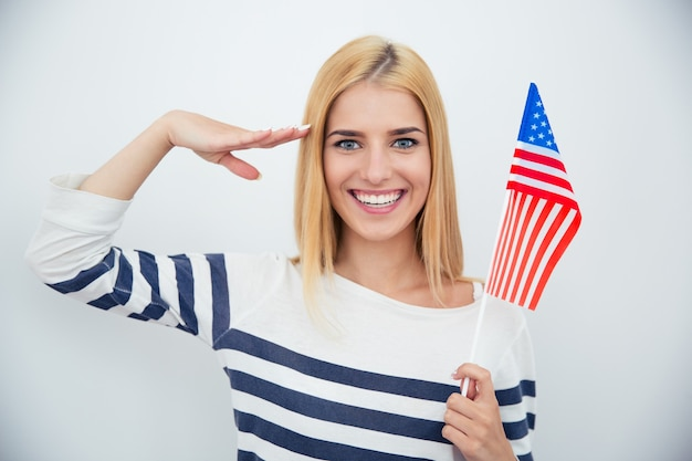 Patriotic woman holding usa flag