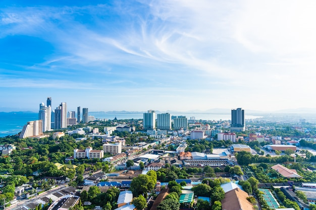 Pattaya chonburi thailand - 28 may 2019 : beautiful landscape and cityscape of pattaya city is popular destination in thailand with white cloud and blue sky