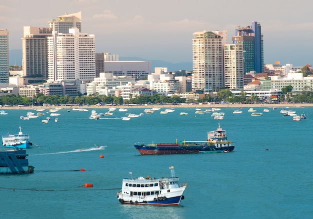 Pattaya city scape beautiful bay view.