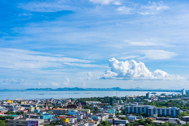 Pattaya thailand - 1 june 2019 beautiful city of pattaya nearly sea ocean bay in thailand