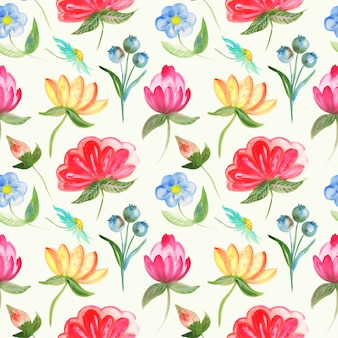 Pattern of abstract flowers in watercolor
