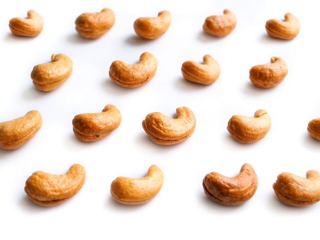 Pattern of dried cashew nuts isolated.