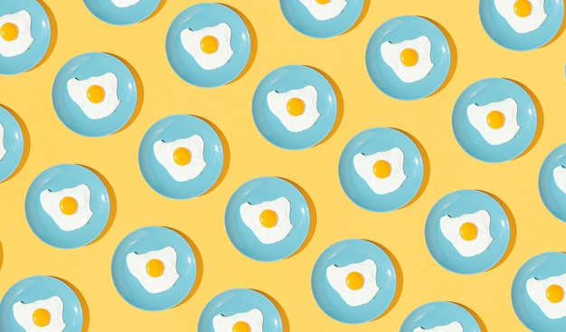 Pattern elements made with fried egg dishes