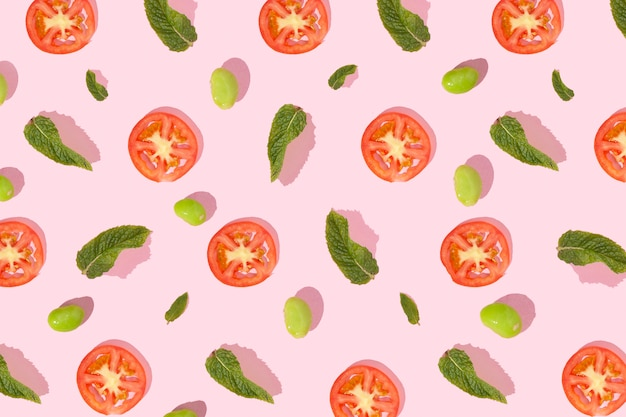 Pattern elements made with pieces of food