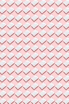파스텔 핑크 벽, 하드 그림자에 작은 clothespins와 빈 구겨진 된 종이 흰색 시트에서 패턴입니다. 평평하다.