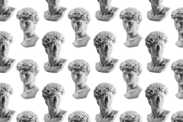 白で隔離されたダビデ像の石膏像からのパターンミケランジェロスダビデ像石膏コピー Premium写真