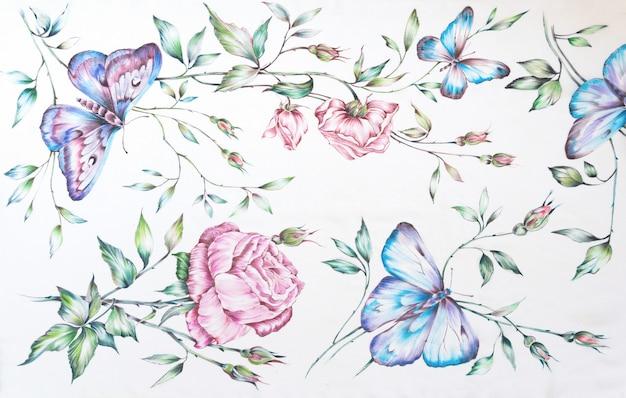 パターン。白い背景の上の手描きのバティックシルクの蝶と花。