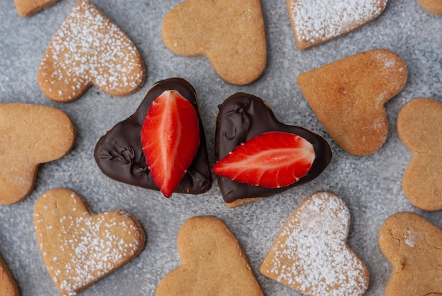 Pattern of homemade heart shaped cookies for valentine's day with two differ from other