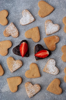 Pattern of homemade heart shaped cookies for valentine's day