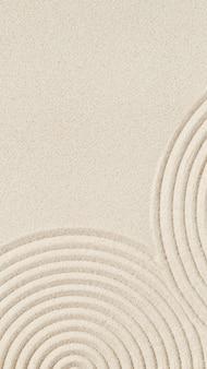 瞑想と静けさのために砂の上に同心円がある枯山水のパターン