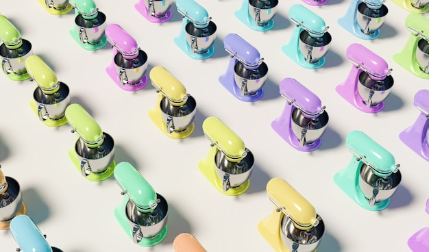 Pattern of kitchen mixers with different pastel colors on white surface