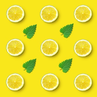 Pattern of  lemon slices and lemon balm leaves
