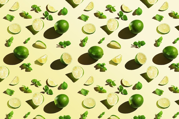 Pattern of lime with mint