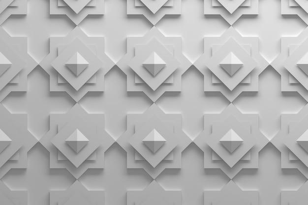 흰색의 회전 된 사각형과 피라미드로 만든 패턴