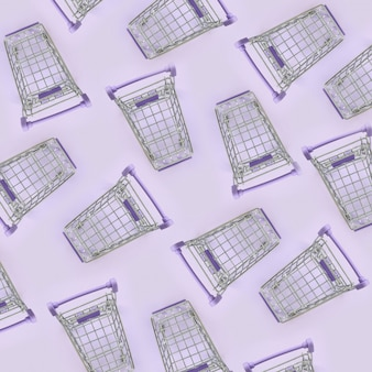 Pattern of many small shopping carts on a violet background. minimalism flat lay top view