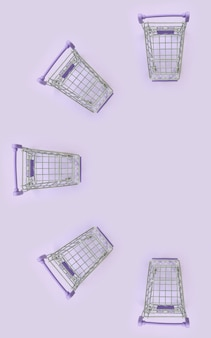 Pattern of many small shopping carts on a violet background