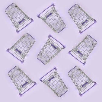 Pattern of many small shopping carts on a violet